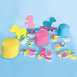Незасыхающая масса для лепки - ЕДИНОРОГИ (3 цвета с блестками, в пластиковых баночках, аксессуары), фото 5