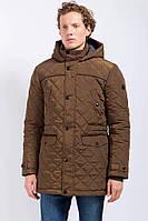 Стеганая зимняя куртка мужская Finn Flare W17-21000-600 с капюшоном коричневое