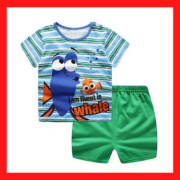 Костюм для мальчика на 1-2 года Летний костюм на рост 110 см Детские футболка и шорти