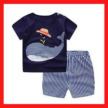 Костюм для мальчика на 1-2 года Летний  костюм на рост 100 см Футболка и шорти Летний детский костюмчик