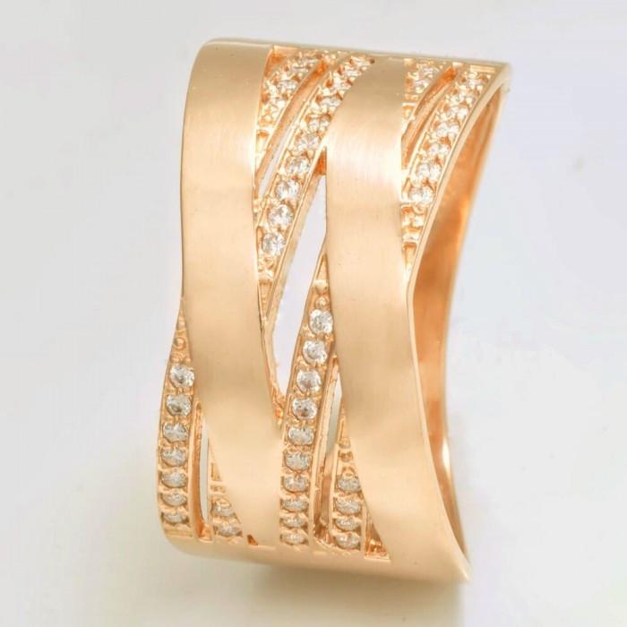 Широкое золотое кольцо с камнями KП1703