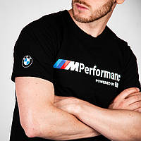 Футболка мужская BMW M Performance белое лого, Футболка чоловіча БМВ M Performance біле лого