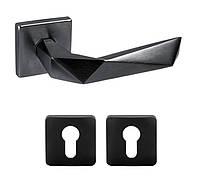 Дверная ручка DND by Martinelli LUXURY 02 с накладкой под цилиндр черный, фото 1
