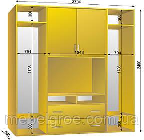 Шкаф-купе ТВ-1 2700х600х2400 тм Эксклюзив