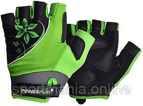 Велоперчатки женские PowerPlay 5281 A Зеленые S