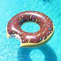 Надувной круг Пончик/все размеры / Круг для плавания и купания/ розовый и шоколадный, фото 3