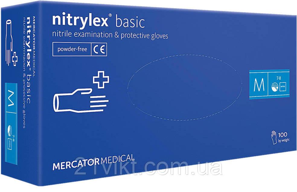 Перчатки Nitrylex basic медицинские нитриловые неопудренные 100шт М