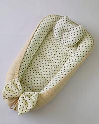 Детский кокон позиционер с подушечкой для новорожденных