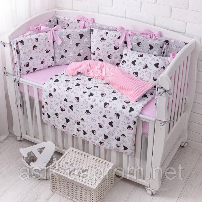 Комплект дитячої постільної білизни «Міккі з рожевим бантом» з бортиками на 4 сторони, №388