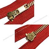 Молния джинсовая Тип 5 18см неразъемная цвет Красный 519 зубья золото, фото 2