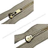 Блискавка джинсова Тип 5 18см нераз'емна колір Світло-сірий 576 зуби золото, фото 2