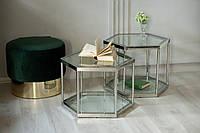 CK-2 Стол кофейный (прозрачный/серебро)