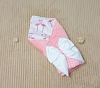 """Конверт на выписку с помпонами, конверт-одеяло на выписку """"Минки"""""""