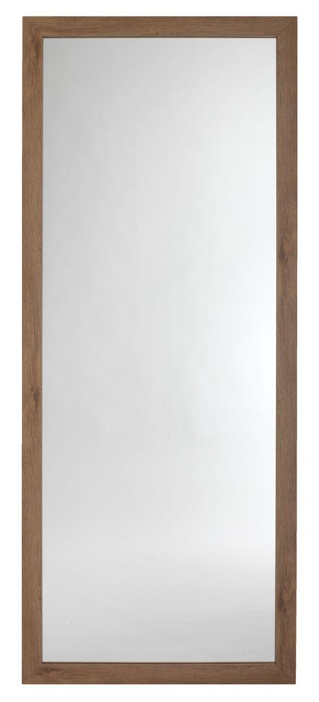 Большое прямоугольное настенное зеркало в рамке 74x180см дикий дуб