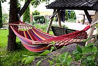 Гамак гавайский подвесной 200x80 см с планкой. Туристический Гамак. Тканевый гамак