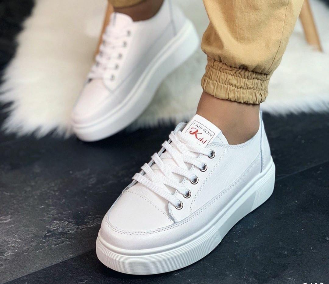 Женские белые кожаные кроссовки криперы, хит сезона!!!!, ОВ 1226