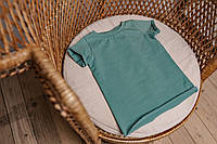 Базовая футболка в рубчик для малыша 6-12 мес (оливка)