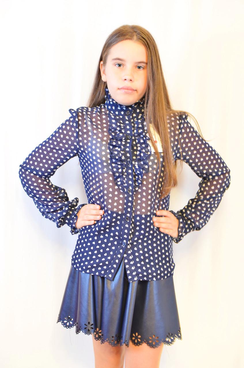Модная, нарядная, дешевая шифоновая блуза для девочки .