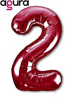 Фольгированная цифра 2 (40') Agura Slim красный в упаковке, 102 см