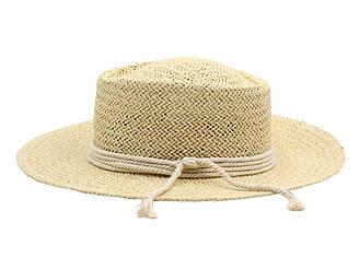 Летняя модная пляжная соломенная шляпа канотье от солнца бежевого цвета с канатною веревкой