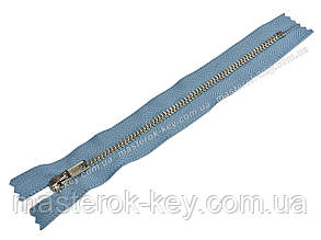 Молния джинсовая Тип 4 18см неразъемная цвет Голубой 749 зубья никель