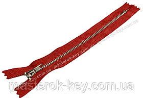 Молния джинсовая Тип 4 18см неразъемная цвет Красный 519 зубья никель