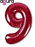 Фольгированная цифра 9 (40') Agura Slim красный в упаковке, 102 см