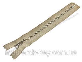 Молния джинсовая Тип 4 18см неразъемная цвет Светло-бежевый 572 зубья никель