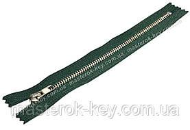 Молния джинсовая Тип 4 18см неразъемная цвет Темно-зеленый 735 зубья никель