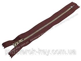 Молния джинсовая Тип 4 18см неразъемная цвет Бордовый 864 зубья никель