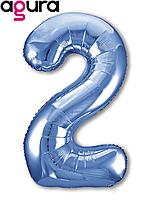Фольгированная цифра 2 (40') Agura Slim синий в упаковке, 102 см