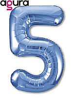 Фольгированная цифра 5 (40') Agura Slim синий в упаковке, 102 см