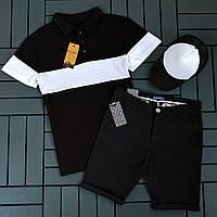 Футболка поло+шорты+кепка.Комплектом дешевле.Мужской летний комплект футболка и шорты.Костюм спортивный летний