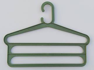 Плечики для брюк пластмассовые лестница 3-ех ярусная  цвета хаки, длина 40,5 см