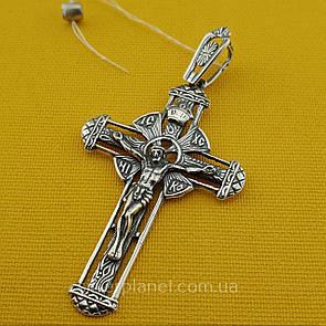 Красивый серебряный крестик. Мужской православный крест из серебра 925