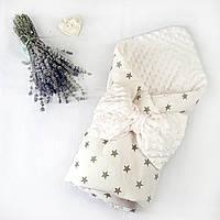 Конверт на выписку для новорожденных в роддом демисезонный плюшевый Минки двухсторонний