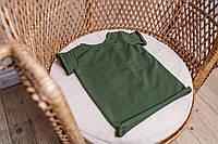 Базовая футболка в рубчик для малыша 6-12 мес (хаки)