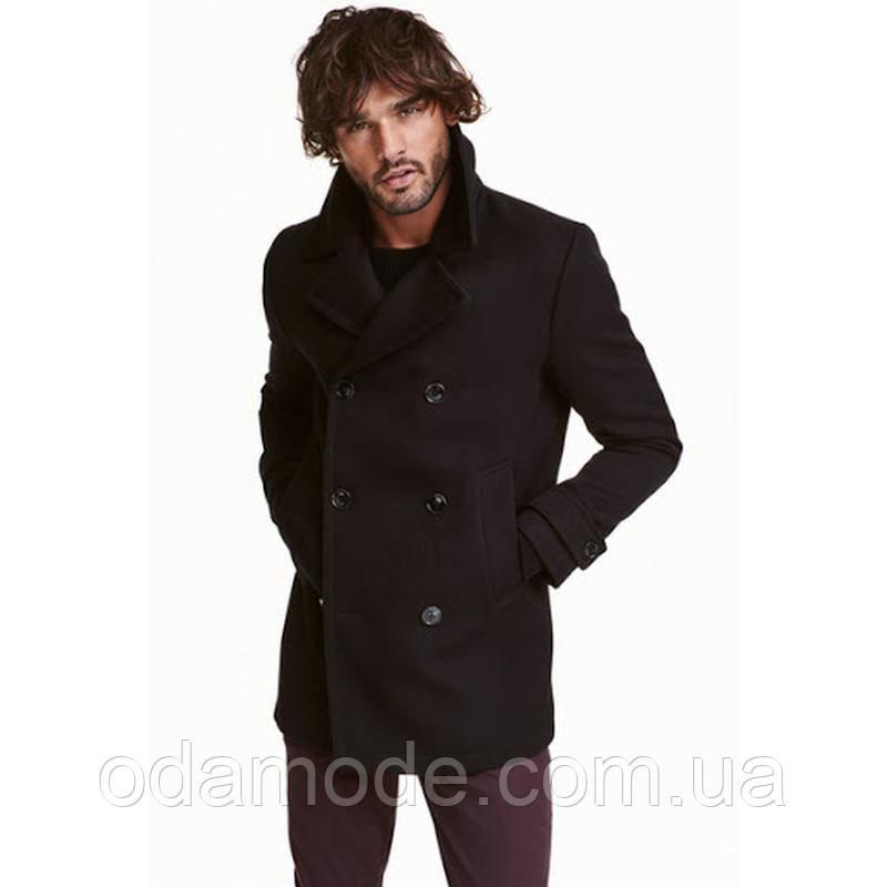Пальто чоловіче темно-синє h&m