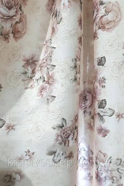Ткань для пошива штор Лен  Мирабелла Кофейный