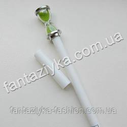 Ручка с песочными часами белая