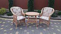 Плетеный комплект мебели в наборе из мягкими подушками молочного цвета/ Набор плетеной мебели из круглым стол, фото 1
