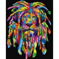 """VP 989 V """"Радужный лев с дредами"""" (вертикальная) Роспись по номерам на холсте 40х50см"""