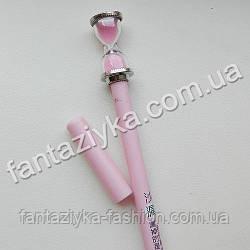 Ручка с песочными часами розовая