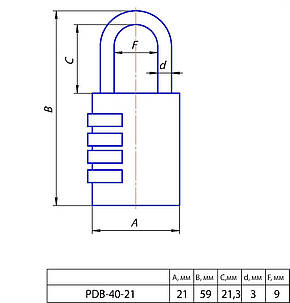 Замок навісний APECS PDB-40-21-CODE, фото 2