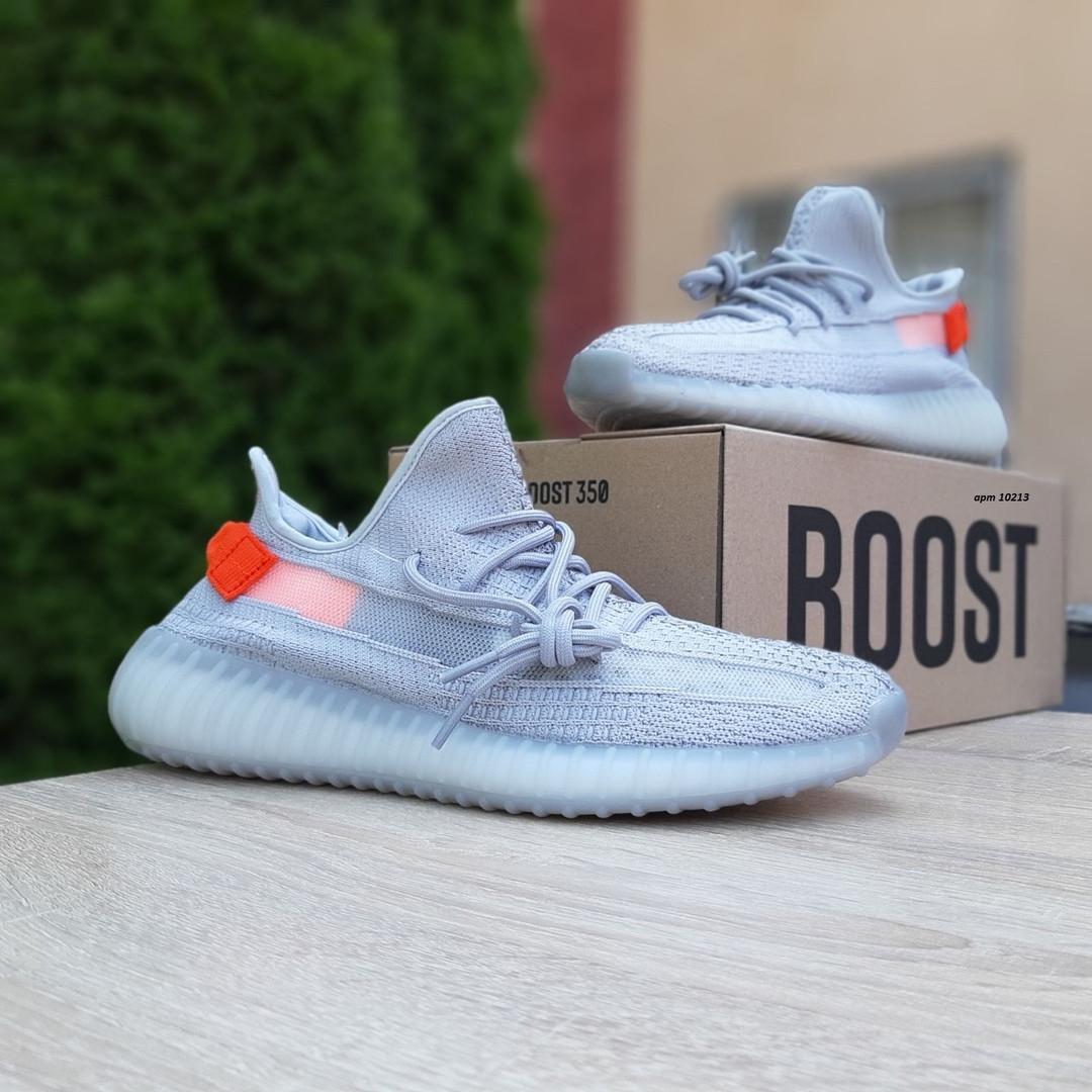 Мужские кроссовки Adidas Yeezy Boost 350 Серые с оранжевым
