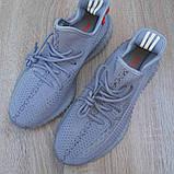 Мужские кроссовки Adidas Yeezy Boost 350 Серые с оранжевым, фото 7