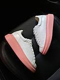 Женские кроссовки Alexander McQueen White Pink., фото 2