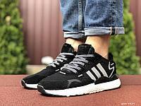 Кроссівки чоловічі в стилі 9429 Adidas Nite Jogger Boost 3M чорно білі