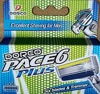Чоловічий Картридж для гоління DORCO PACE 6 PLUS (з Тримером) (4шт)