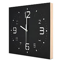 Настенные часы ручной работы Kauza 3D цифры с деревянным бортом Черные kau0002, КОД: 313362